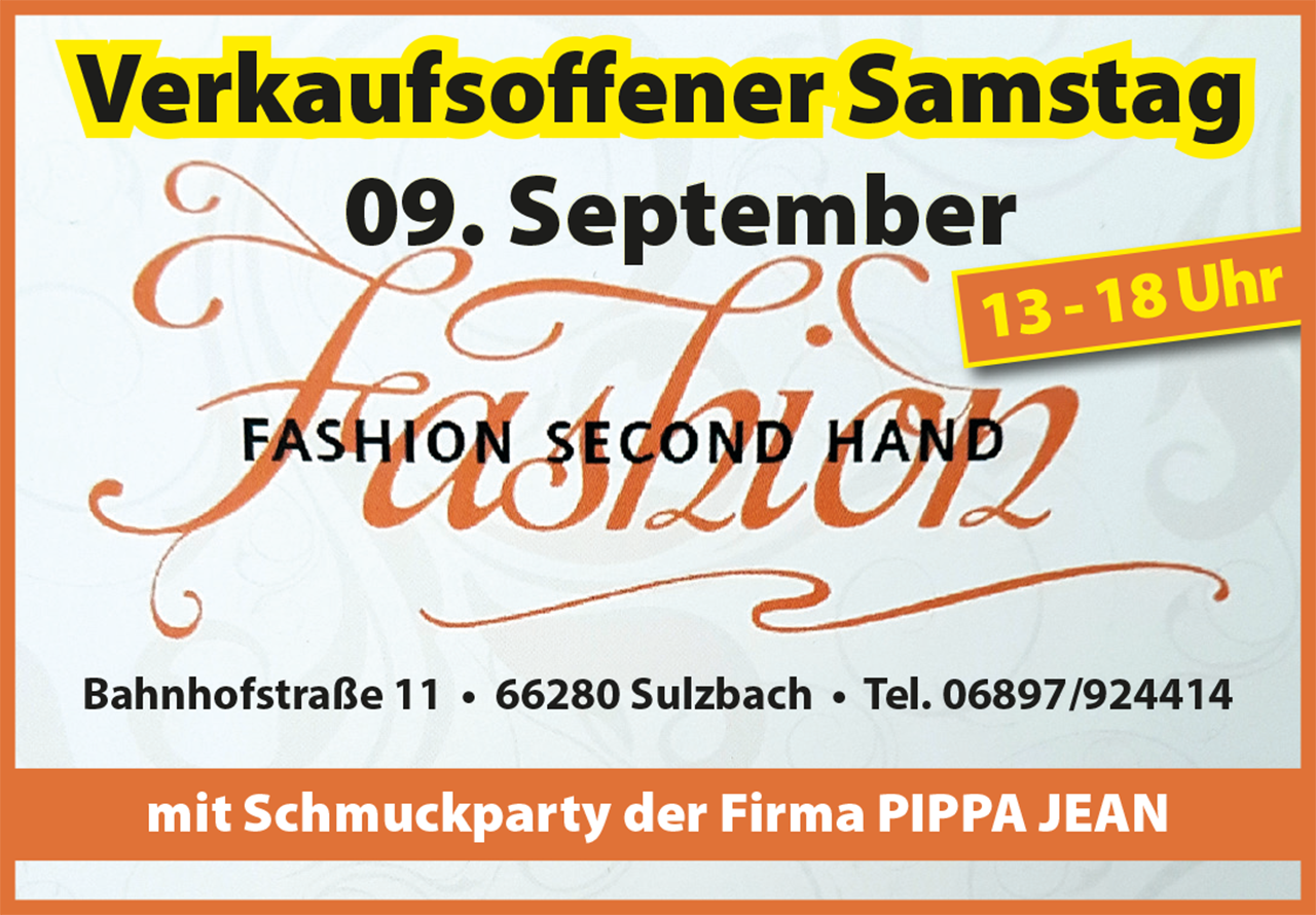 verkaufsoffener samstag bei fashion second hand am 9 september saarnews. Black Bedroom Furniture Sets. Home Design Ideas